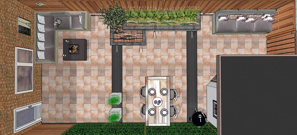 Tuinontwerp capelle aan den ijsselhippetuinen tuinontwerp for Bestrating kleine tuin