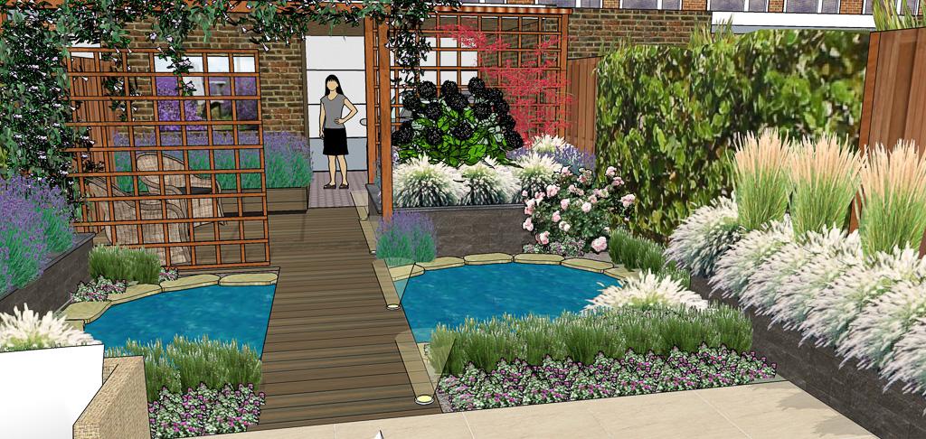 Tuinontwerp kleine achtertuinhippetuinen tuinontwerp for Tuinontwerp kleine tuin strak